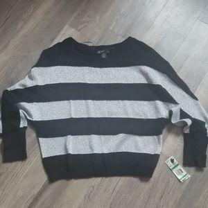 INC Striped Dolman Sleeve Sweater Black Silver New